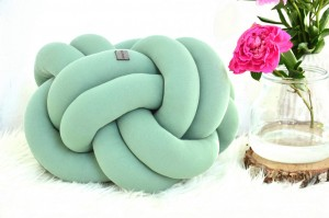 PODUSZKA WĘZEŁ - KNOT CUSHION - BRUDNA MIETA/DARK MINT - SUPEŁ